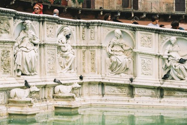 Detail on Fountain, Piazza del Campo, Sienna, Tuscany