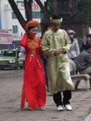 Vietnamese Couple in Traditional Dress