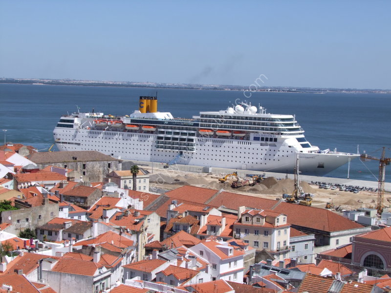 View of Lisbon Dock & Cruise Ship