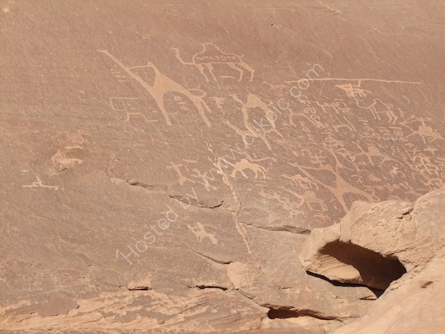 Rock-carved Drawings with Nabatean & Thamudic Inscriptions, Jebel Rum