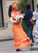 Cuban Lady in Traditional Dress, Cathedral Square, Havana