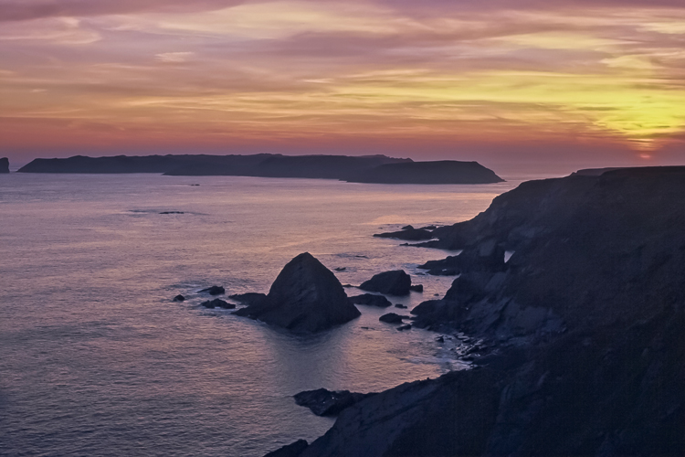 Sunset over Skomer Island, Pembrokeshire. 001