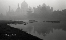Taj Mahal  seen from Yamuna river at dawn India