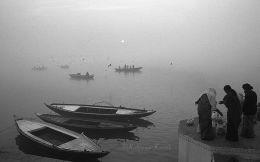 Morning offering along the sacred Ganges Varanasi India