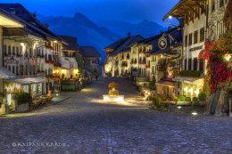The mountain village of Gruyères in Switzerland