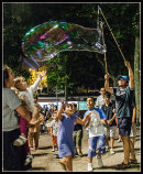 Bubbles and excited kids.
