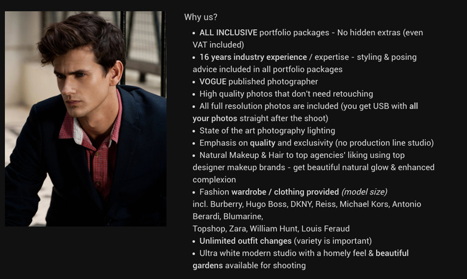 Why to book your portfolio shoot with London Photo Portfolios?