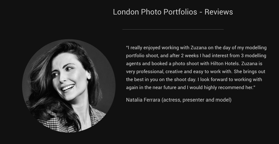 London Photo Portfolios - Reviews / Testimonials