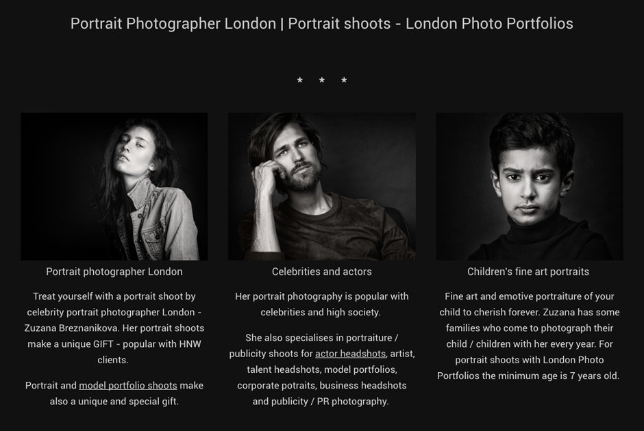 Portrait photographer London