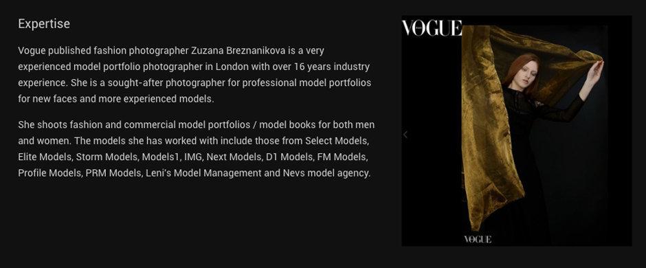 Model portfolio photographer London
