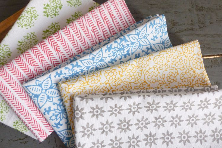 1415256 to 1415260-Hand Block Printed Organic Cotton Napkins