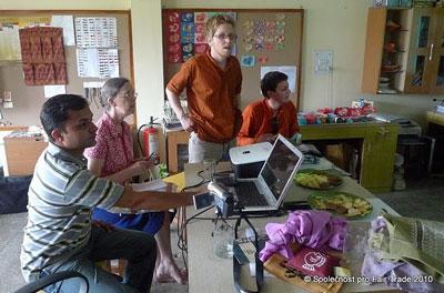 Vasek (standing) and Tomas (R) from Czech Society for Fair Trade visiting MESH design studio