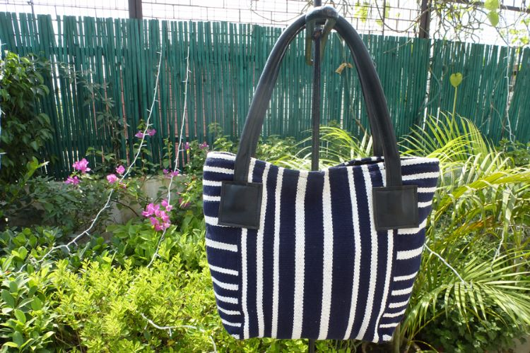 1111694 Hand Woven Cotton, Leather Trimmed Bag