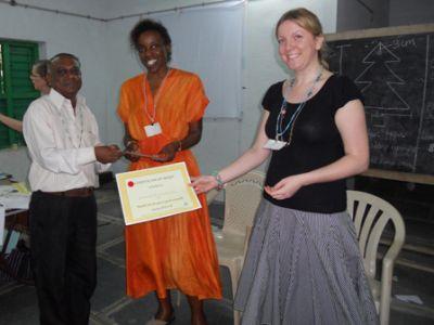 Mr. Malleshappa receiving an award for H.H.H. R.T.U.