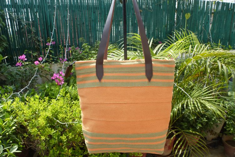 1111696 Hand Woven Cotton, Leather Trimmed Bag
