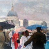 Wet Sunday Millenium Bridge, by Mike Bloor