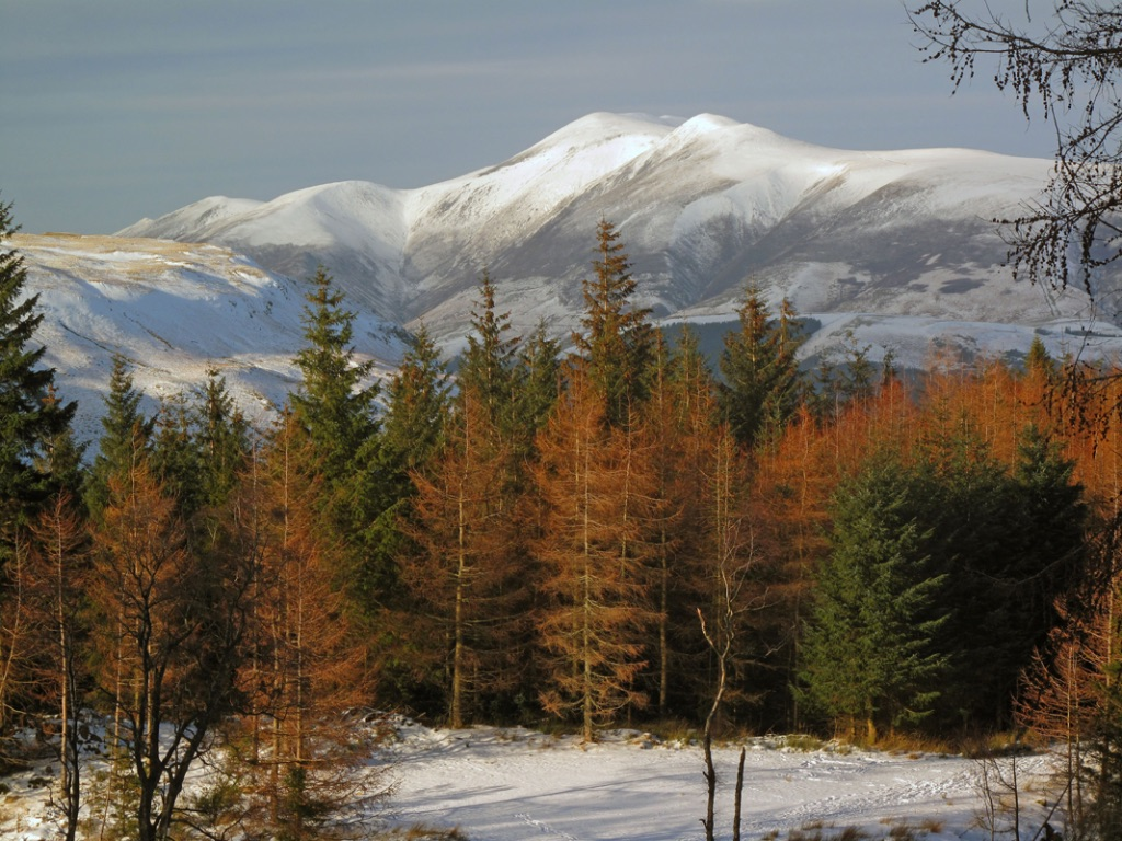 A Snowcapped Skiddaw From Raven Crag