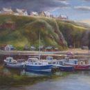 """Portknockie Harbour, 24"""" x 16"""", Oils"""