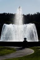 Fountain in late afternoon at Pagosa Springs Resort, CO, USA