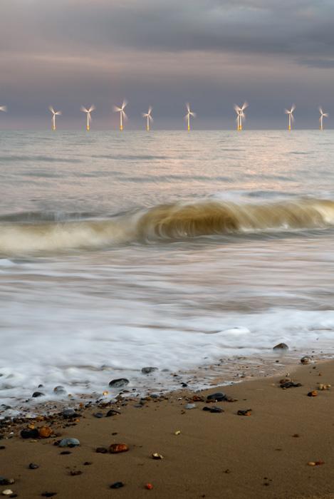 Turbines at dusk