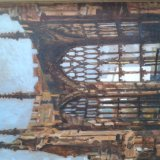Conventry Cathedral 43x52cm (1992) Oil on board Estate of Peter Iden #365 Price £900 (Sorry, image refuses to rotate!)