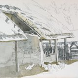 Barn from Cowfold 25x20cm Pencil and wash Estate of Peter Iden #379