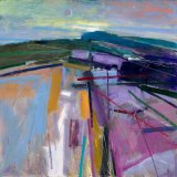 Downland Evening with New Moon 59x59cm (2009) Oil on Board Estate of Peter Iden #10