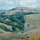 East of Wolstonbury 24x24cm (2010) Oil on Board Estate of Peter Iden Number 62