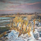 Fishbourne Harbour in the Snow 60x60cm Estate of Peter Iden #314