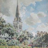 Chichester Cathedral from Bishop's Garden 24.5x34cm Watercolour 1986 Estate of Peter Iden #332