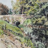 River Rother at Woolbeding Bridge 29x36cm Watercolour 1992 Estate of Peter Iden #335