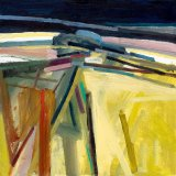 Untitled [Yellow field, black sky] 30x30cm Oil on Board Estate of Peter Iden Number 58
