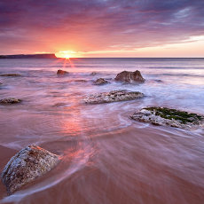 Sunset at Whitepark Bay