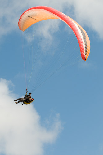 Paraglider over the Welsh valleys