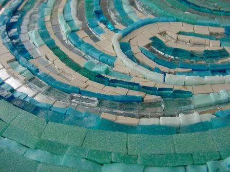 Close up of a section of the mosaic illustrating the 3d element