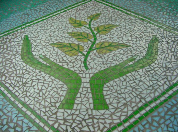Trafford Macmillan Care Centre entrance wall mosaic commission completed with clients