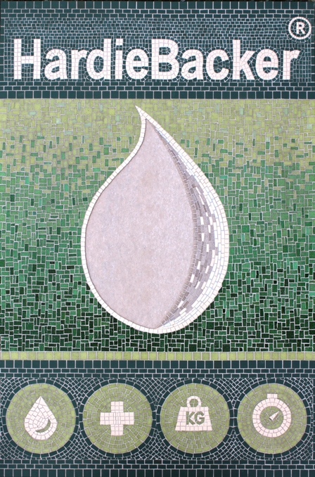 James Hardie international mosaic commission to display Hardiebacker tiling board on Ecobuild stand at ExCel London Conference (reflecting client's marketing artwork)