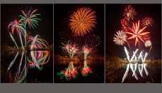 Fireworks Across The Lake Triptych