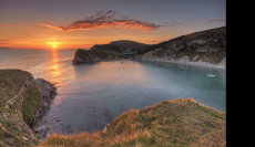 Lulworth Cove Dorset at Sunset