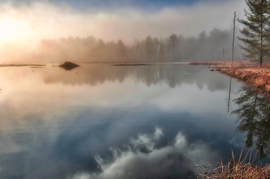 SM12101-1371-1372-1375  Misty Sunrise, Beaver Pond