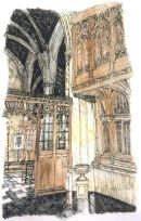 Thomas Plunkett PRWS, The Rear of the Watching Loft, St Albans Cathedral, Hand Watercoloured Print