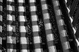Snow checkered bench