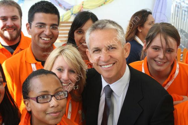 Gary Lineker and Volunteers