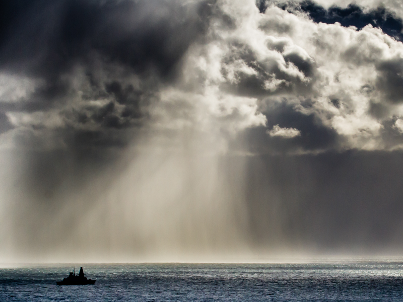 HMS defender into squall
