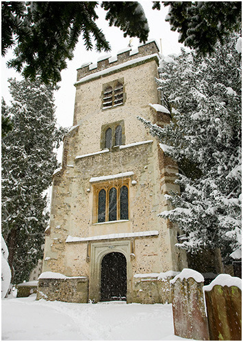 St Giles' church in the snow