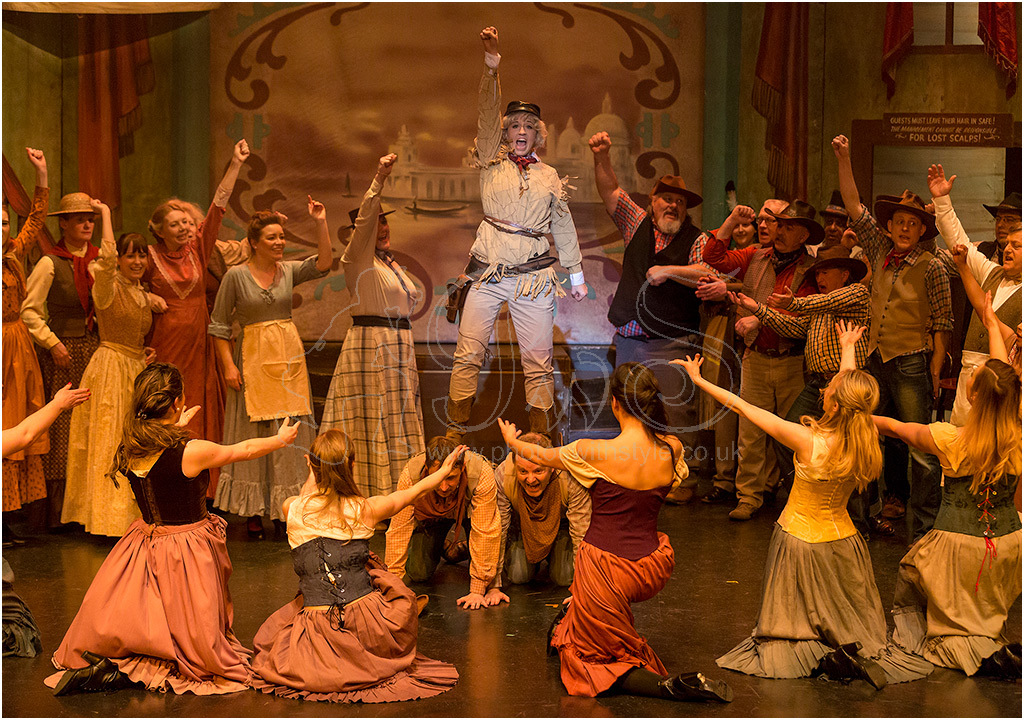Emily Evans as Calamity Jane and cast