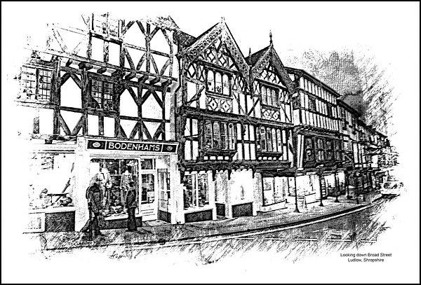 Looking down Broad Street, Ludlow, Shropshire