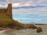 Dunure Castle with Ailsa Craig in the background