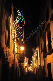 Back street in Funchal with Christmas lights