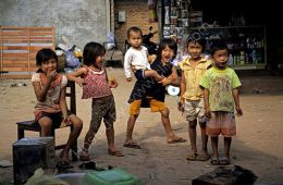 Children in a market - Laos